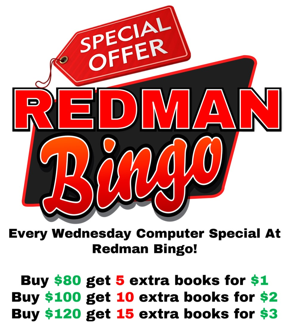 Redman Bingo Wednesday Special
