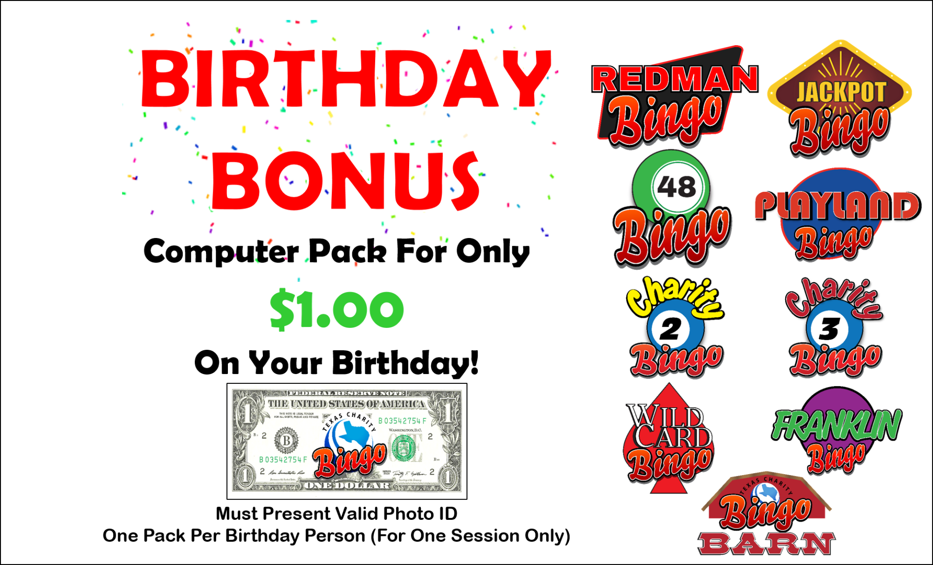 $1 Birthday Computer Pack (All 9 locations)