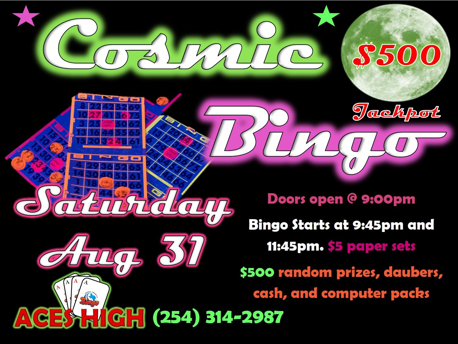 Cosmic Bingo Saturday Aug 31 2019